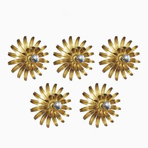 Lampade da parete a forma di fiore, anni '70, set di 5