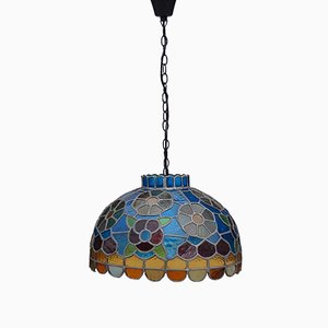 Handcrafted Stained Glass Pendant Lamp, 1970s