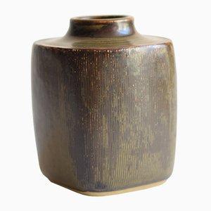 Quadratische Dänische Mid-Century Vase von Valdemar Petersen für Bing & Grøndahl, 1960er