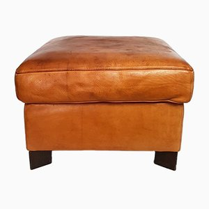 Cognac Leather Ottoman from Molinari, 1980s