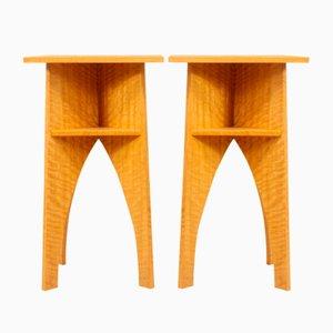 Mid-Century Satin Wood Side Tables, Set of 2