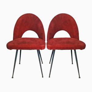 Französische Beistellstühle aus Plüsch, 1950er, 2er Set