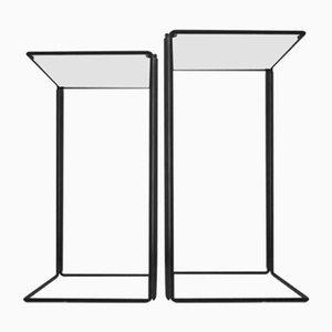 Minimalistische Satztische aus Metall & Glas