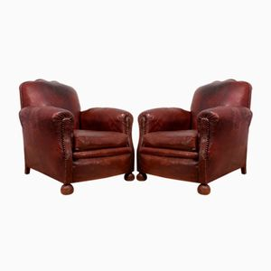 French Leather Club Chairs, 1940s, Set of 2