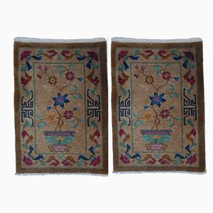 Vintage Chinese Handmade Rugs, Set of 2