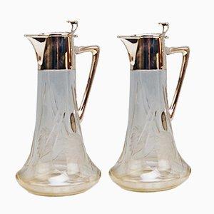 Jugendstil Karaffen aus Silber 800 & Glas von Alexander Birkl, 1900er, 2er Set