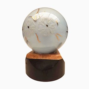 Art Deco Opaline Glass and Onyx Marble Bedside Lamp, 1930s