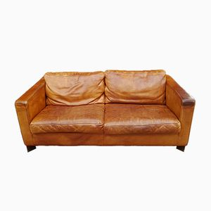 Cognac Neck Leather 2-Seater Sofa from Molinari, 1980s