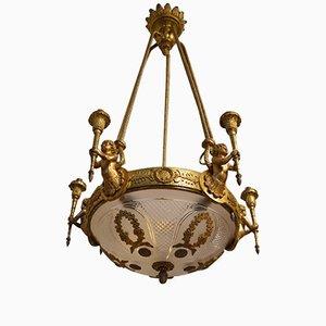 Antiker Kronleuchter aus Vergoldeter Bronze mit Engelchen im Louis XVI Stil