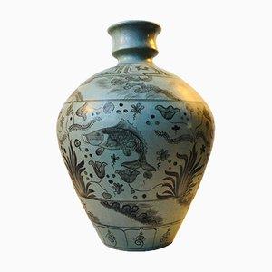 Danish Art Deco Gray Ceramic Floor Vase form Lyngby Porcelæn, 1930s