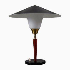 Dänische Tischlampe aus Teak, Messing & Opalglas von Fog & Mørup, 1950er
