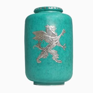 Vase Argenta Vintage en Grès par Willhelm Kåge pour Gustavberg