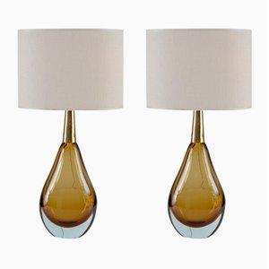 Mid-Century Sommerso Murano Glas Tischlampen von Seguso Vetri D'Arte, 2er Set