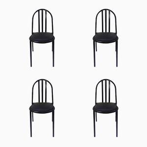 Vintage Stühle aus Schwarz Lackiertem Metall von Robert Mallet-Stevens, 1980er, 4er Set