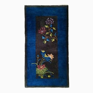 Antique Chinese Handmade Floral Art Deco Rug, 1920s