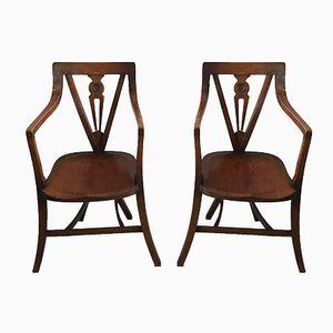 Vintage Eichenholz Armlehnstühle, 2er Set