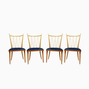 Cherry & Velvet Dining Chairs, 1950s, Set of 4