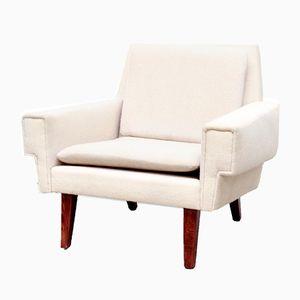 Dänischer Sessel aus Weißer Wolle von Ryesberg Møbler, 1960er