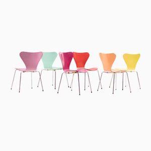 Modell 3107 Stühle von Arne Jacobsen für Fritz Hansen, 1980er, 6er Set