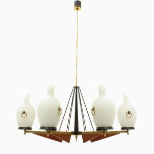 Messing & Opalglas Kronleuchter, 1950er