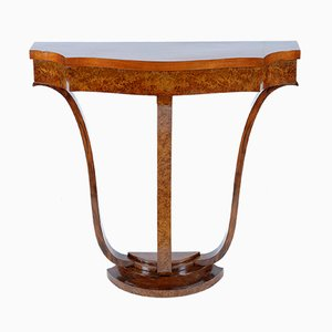 Italian Art Deco Walnut Burr Console, 1930s