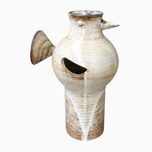 Vintage Glazed Ceramic Bird-Shaped Vase by Jacques Pouchain