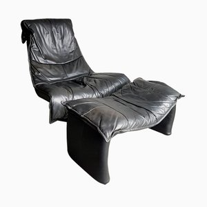 Vintage Large Black Leather Swivel Lounge Chair with Ottoman, 1980s