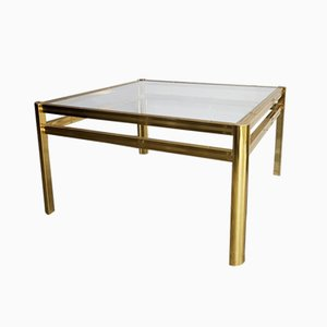 Gold-Plated Square Coffee Table, 1980s