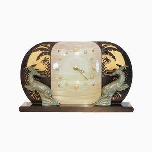 Französische Vintage Art Deco Marmor Kaminuhr