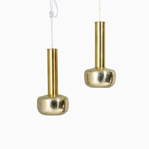 Mid-Century Danish Brass Pendant Lights by Vilhelm Lauritzen for Louis Poulsen, 1960s, Set of 2