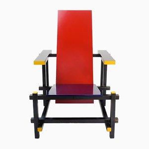 Stuhl in Rot & Blau von Gerrit Thomas Rietveld für Cassina, 1970er