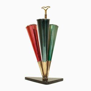 Italienischer Schirmständer aus Marmor & Messing, 1950er