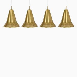 Brass Pendant Lamps by Hans Bergström for Ateljé Lyktan, 1950s, Set of 4
