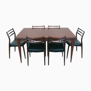 Modell 12 Tisch & Modell 78 Stühle von Niels O. Moller für J.L. Møller Møbelfabrik, 1960er