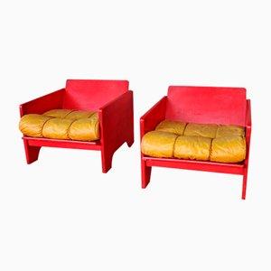 Italienische Rote Sessel von Poltronova, 1970er, 2er Set
