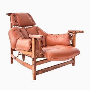 Leather & Jacaranda Lounge Chair by Jean Gillon for Italma Wood Art, 1956