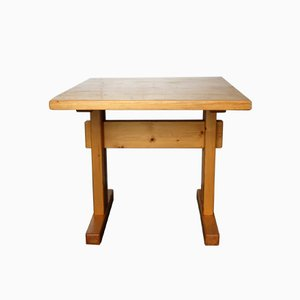 Vintage Pine Les Arcs Square Table by Charlotte Perriand, 1960s