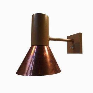 Große Dänische Kupfer Wandlampe von Fog & Mørup, 1970er
