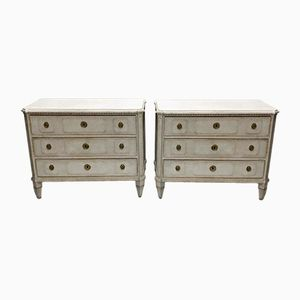 Antique Gustavian Chests of Drawers, 1870s, Set of 2
