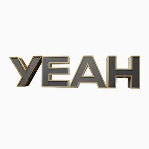 Dreidimensionale Mid-Century Leuchtbuchstaben YEAH