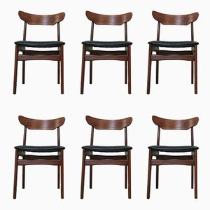 Rosewood & Teak Dining Chairs by Schionning & Elgaard, 1960s, Set of 6