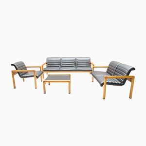 Vintage System Zwo Seating Group in Leather and Wood from Flötotto