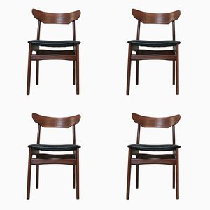 Rosewood & Teak Dining Chairs by Schionning & Elgaard, 1960s, Set of 4