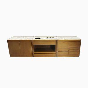 Credenza 4D in legno di noce e marmo di Angelo Mangiarotti per Casaluci, anni '60