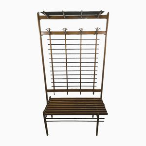 Mid-Century Wall-Mounted Coat Hanger with Bench, 1950s