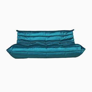 Blue Velvet Three-Seater Sofa by Michel Ducaroy for Ligne Roset, 1970s