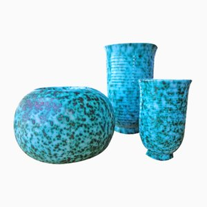 French Ceramic Vases from Elchinger, 1950s, Set of 3