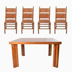 Mid-Century Kentucky Stühle und Scuderia Tisch Esszimmer Set von Carlo Scarpa für Bernini, 1977