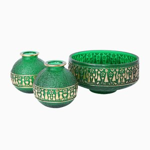 Deutsche Glas Schale & 2 Vasen von Werksentwurf für Walther Glas, 1960er