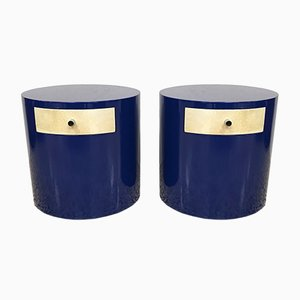 Mid-Century Modern Blue & Parchment Night Stands, 1970s, Set of 2